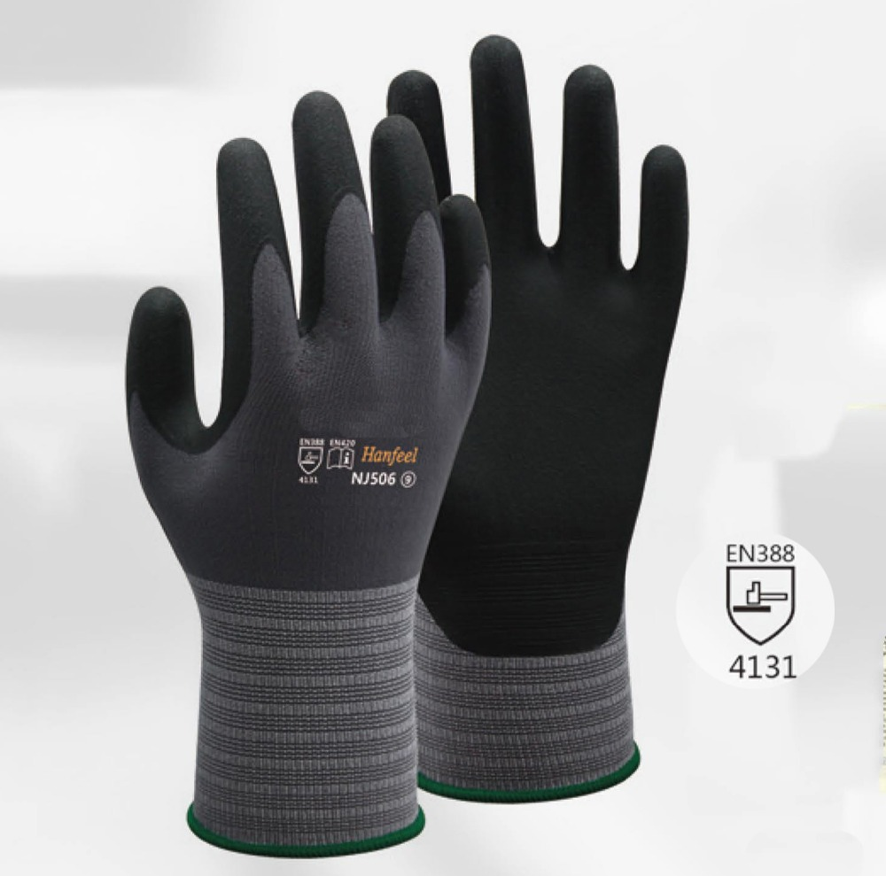 Oil And Gas Glove 4 Pairs High Flex Gardening Safety Glove Nitrile Foam Abrasion Resistant Work Gloves