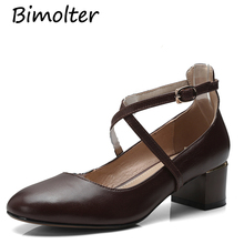 Bimolter Retro Mary Jane Shoes Natural Genuine Leather + Sheepskin Thick Heels Round Toe Cross-Tied vintage shoes Buckle NB067