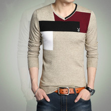 Winter Mens V neck knit shirt sweater slim Korean casual sweater cashmere shirt youth thickening tide