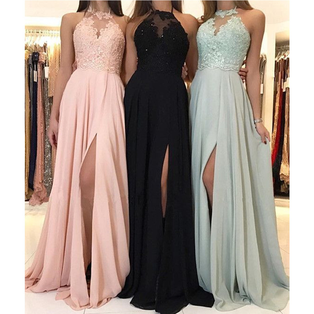 Hot Selling Pink Halter Long Evening Dress Backless High Split Lace Chiffon Cheap Occasion Dresses 2019 Custom Made Prom Gowns(China)