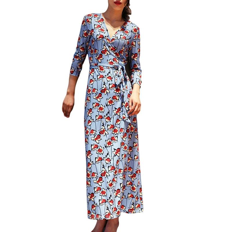 e928792a758 2019 Summer Women Holiday Long Beach Casual Dress Ladies V-Neck Ruby Print  Maxi Wrap Dresses Robe Longue Femme Ete
