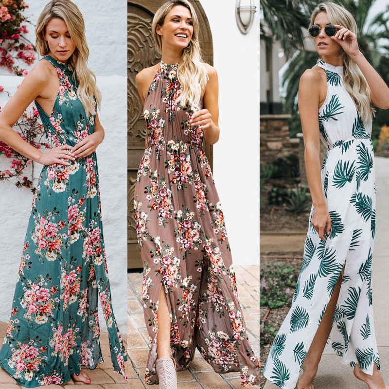 6daf73c487d4 Detail Feedback Questions about Women Summer Boho Casual Long Maxi Evening  Party Beach Dress Sundress Halter Neck Smocked Waist Split Flower  Sleeveless ...