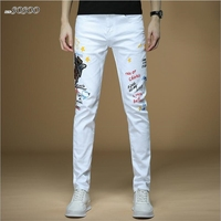 New men jeans letter printing 100% cotton white denim jeans men Korean style fashion men jeans #1309