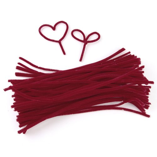 ALIM 6mm x 12 inch Pipe Cleaners Chenille Stems Kids Crafts - Red