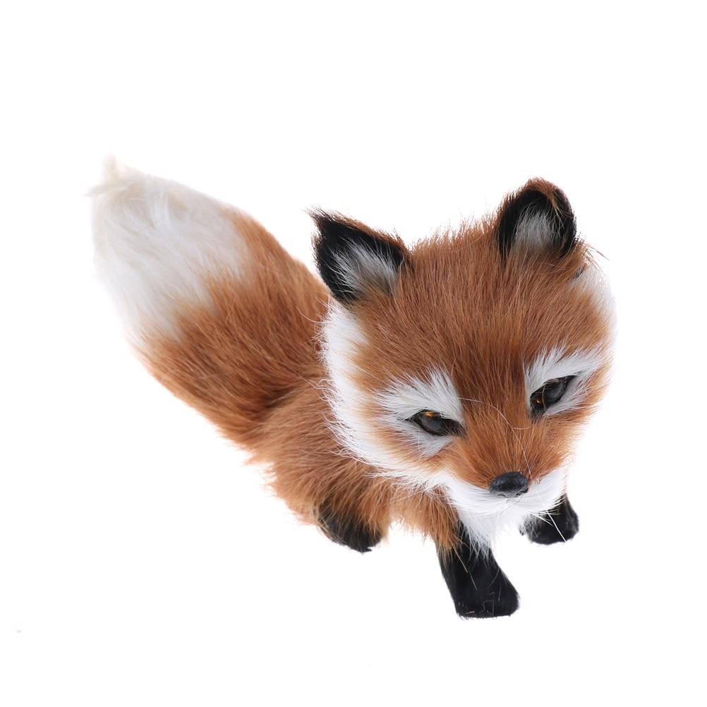 1Pcs Small Simulation Fox Toy Mini Squatting Fox Model Home Decoration Wedding Birthday Gift Stuffed Plush Toys