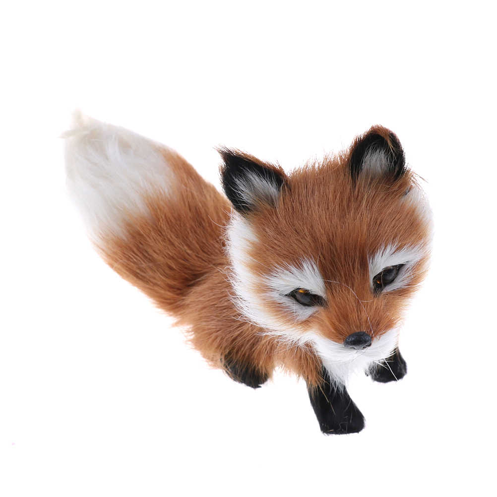 1Pcs Small Simulation Fox Toy Mini Squatting Fox Model Home Decoration Wedding Birthday Gift Stuffed Plush Toys