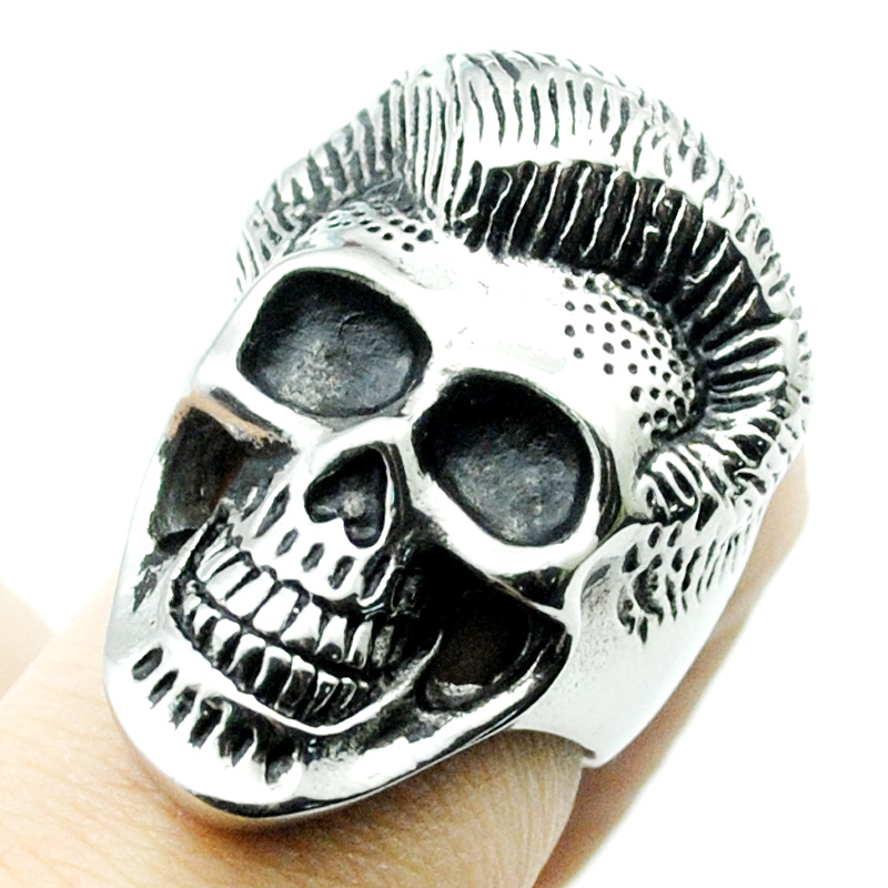ATGO Cool Haircut Hairstyle Skull Rings 316L Stainless Steel Ring Men Punk Style 2018 Gift BR370