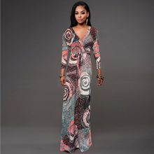 2016 Autumn New Women Large Size Fat MM Party dresses vestidos Sexy V-neck short  sleeve slit belt long dress D1148 c7d9474303b7