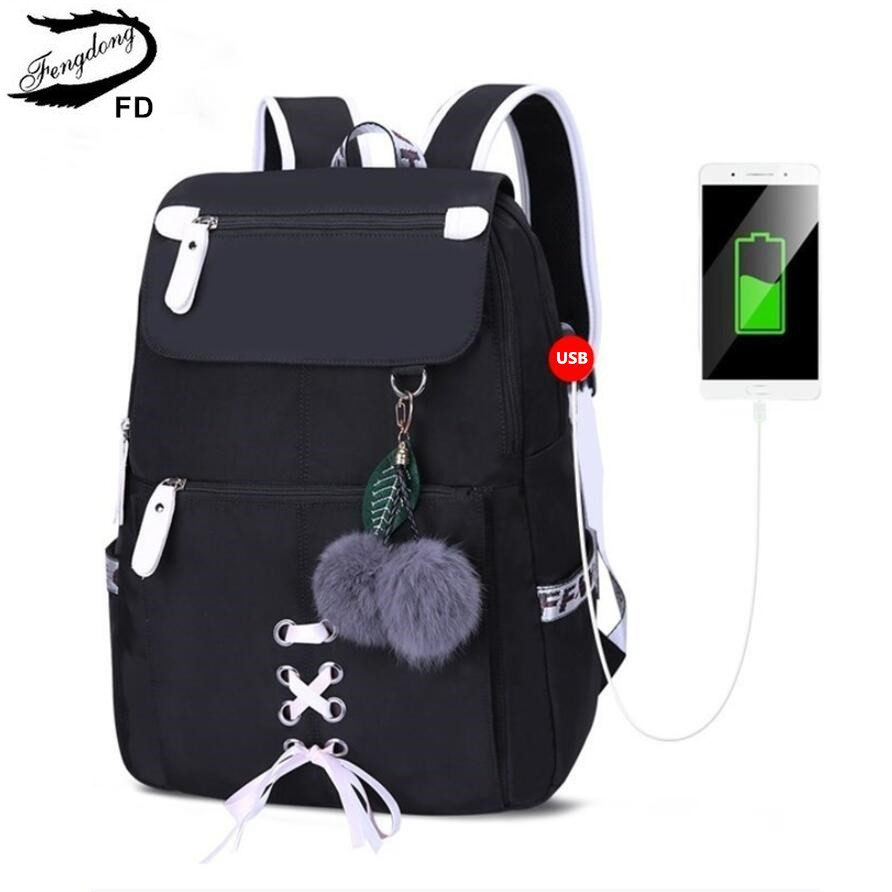 FengDong kids school backpack for girls school bags women shoulder bag fur ball bowknot backpacks for teenage girls dropshippingFengDong kids school backpack for girls school bags women shoulder bag fur ball bowknot backpacks for teenage girls dropshipping