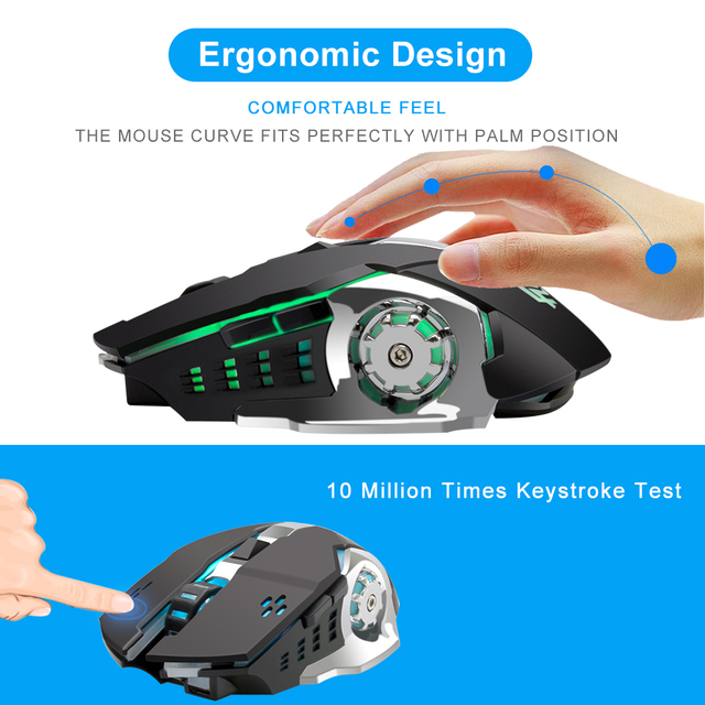 Anmck Wireless Rechargeable Gaming Mouse 2.4Ghz Optical RGB Ergonomic Gamer Protable 3