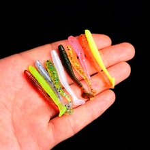 цена YUZI 10pcs/lot Hot Worm Shad Soft Bait 45mm 0.8g Artificial Fishing Lure Swim Grubs Jig Wobblers Pesca Bass Tackle онлайн в 2017 году