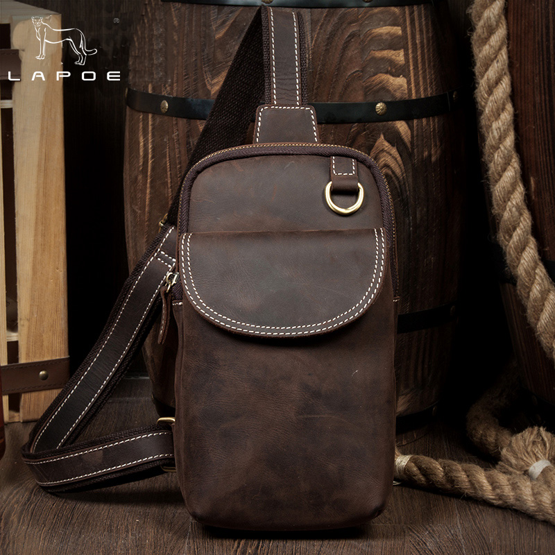 LAPOE New Men Crossbody Bag Genuine Leather Shoulder Bag Small Male's Messenger Bag Vintage Crazy Horse Leather Travel Chest Bag