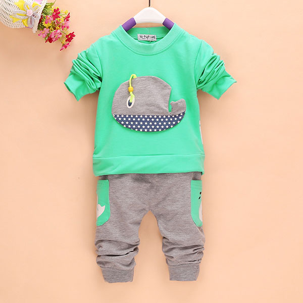 2Pcs Outfits 1-4Years Kids Baby Boys Clothes Long Sleeve Whale Tops+Long Pants Clothing Sets 4 Colors 2pcs boy kids long sleeve tops pants nightwear sleepwear pajama pyjamas outfits