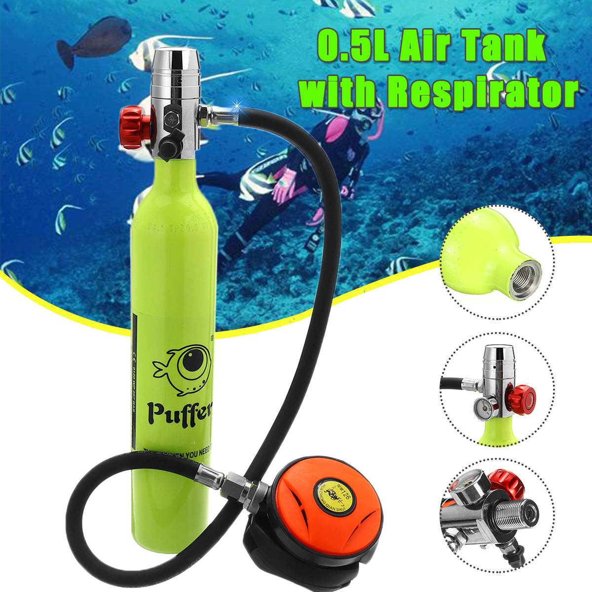 Diving Equipment Mini Scuba Oxygen Cylinder Snorkel Air Tanks PCP Scuba Diving Valve Snorkeling Respirator Underwater Breath