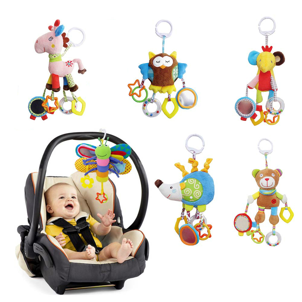Baby Butterfly Stroller Rattles Infant Crib Mobile Plush Handbell Toddler Musical Doll Bed Hanging Toys with Teether WJ583