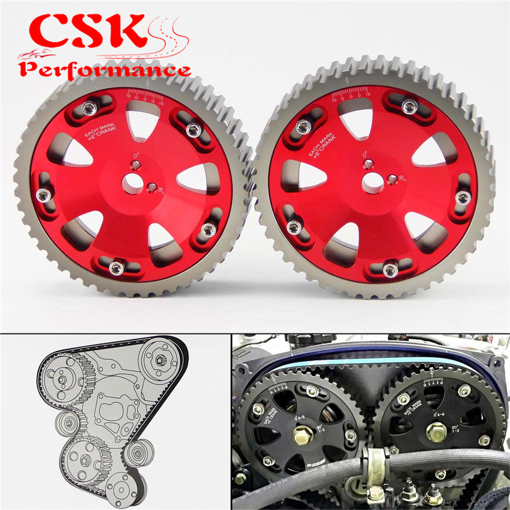 Cam Gears Pulley Kit Fits For Mitsubishi EVO 1 2 3 4 5 6 7 8 9 ECLIPSE DSM 4G63 2 Pcs Red 4g63 engineering 70mm throttle body for mitsubishi lancer evo 4 5 6 eclipse dsm silver