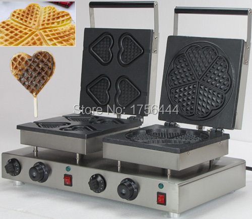 Free Shipping 2 in 1 Waffle Baking System 110v 220v Electric Commercial Dual Heart Waffle Maker