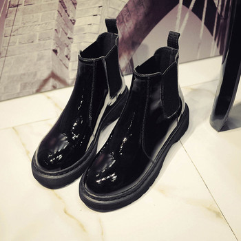 Famous Designer chelsea boots women flat patent leather botines mujer new platform winter warm plush ankle boots shoes women2019 leather