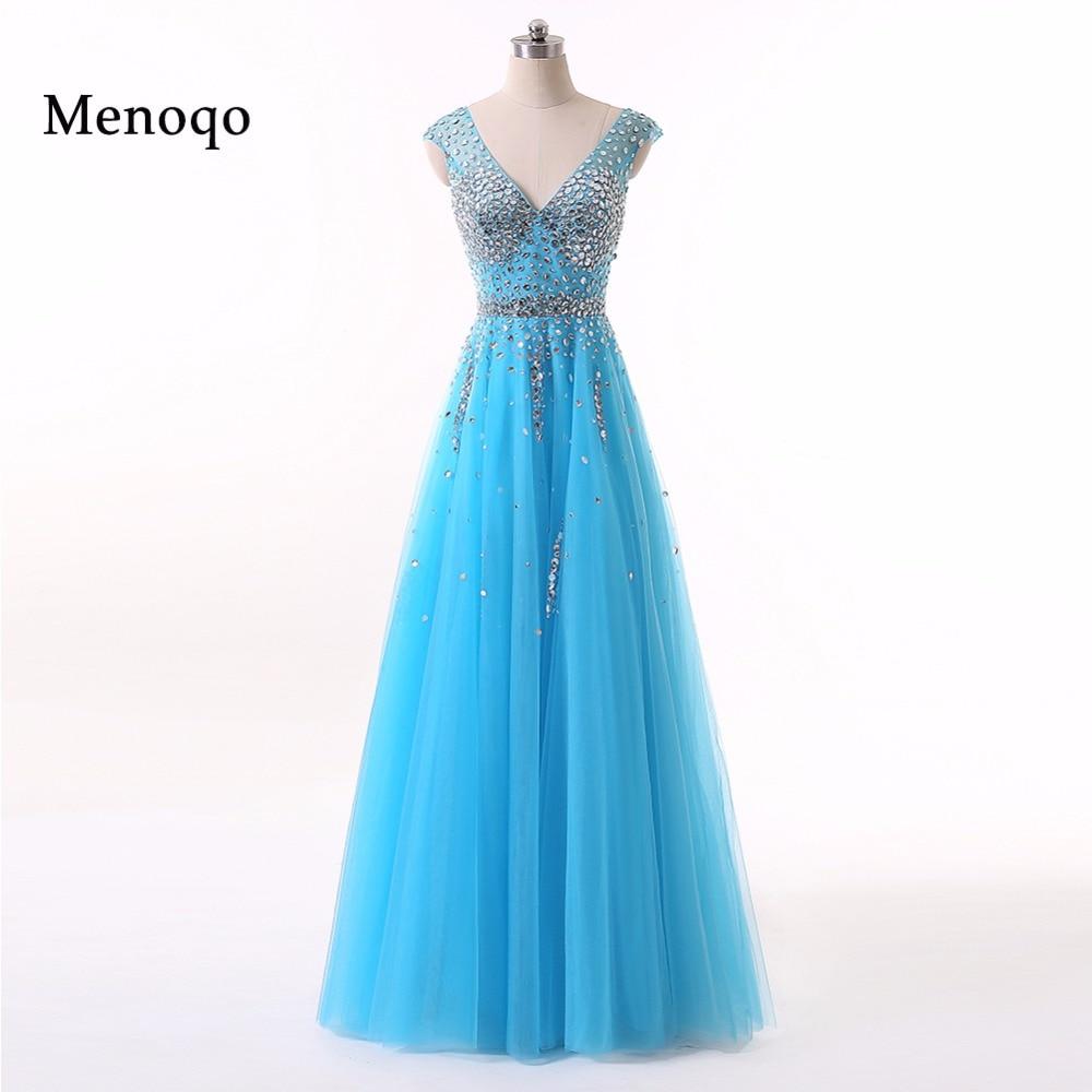 Menoqo Vestidos De Festa   Prom     Dresses   2018 V neck Sleeveless Tulle Crystal 2018 A-line Long Evening   Dresses   W1701167
