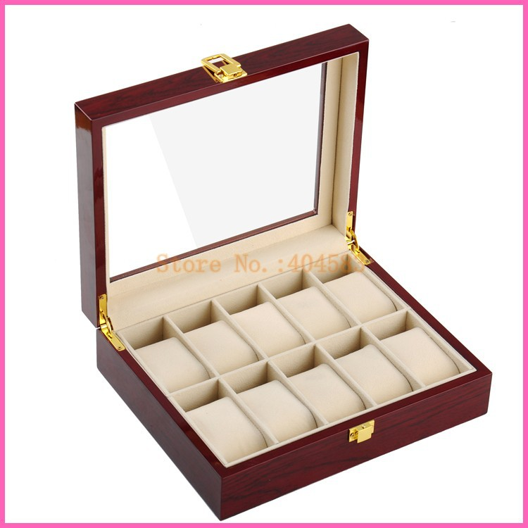 Livraison gratuite 10 fente personnalisé laqué bois boîtes de montres avec le prix concurrentiel