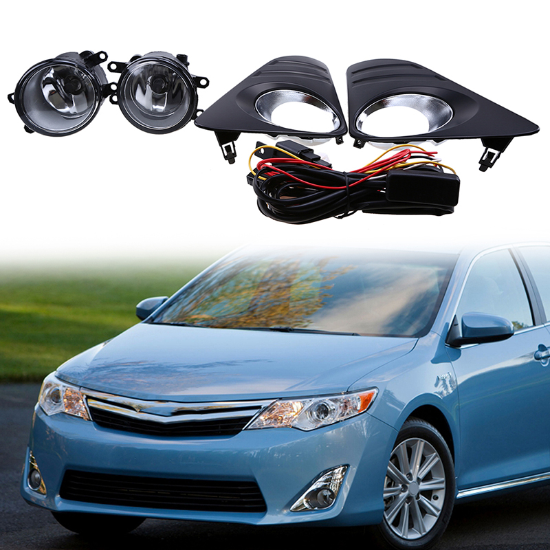 Car-Styling Car Halogen Fog Light Lamps For Toyota Camry (XV50)LE/XLE 2012-2014 With Clear Lens Wiring Kit Front Fog Light Set car fog lights lamp for mitsubishi triton 2 door 2009 on clear lens pair set wiring kit fog light set free shipping