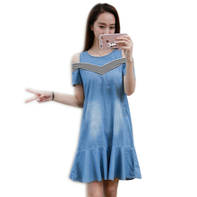 Plus Size Womens Denim Dress Summer Holiday Ladies Sexy Off Shoulder Ruffles Beach Short Sleeve O Neck Dreeses