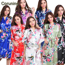 RB015 Satin Robes for Brides Wedding Robe Sleepwear Silk Pijama Casual Bathrobe Animal Rayon Long Nightgown Women Kimono XXXL(China)