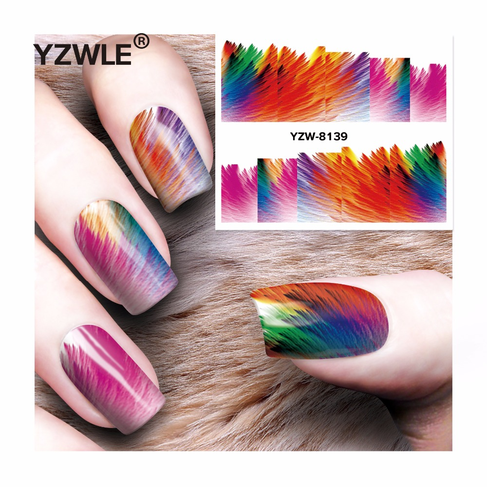YZWLE 1 Sheet DIY Decals Nails Art Water Transfer Printing Stickers Accessories For Manicure Salon  YZW-8139 yzwle 1 sheet nail art stickers animal pattern 3d mysterious black cat designs water transfers decals diy decoration accessories