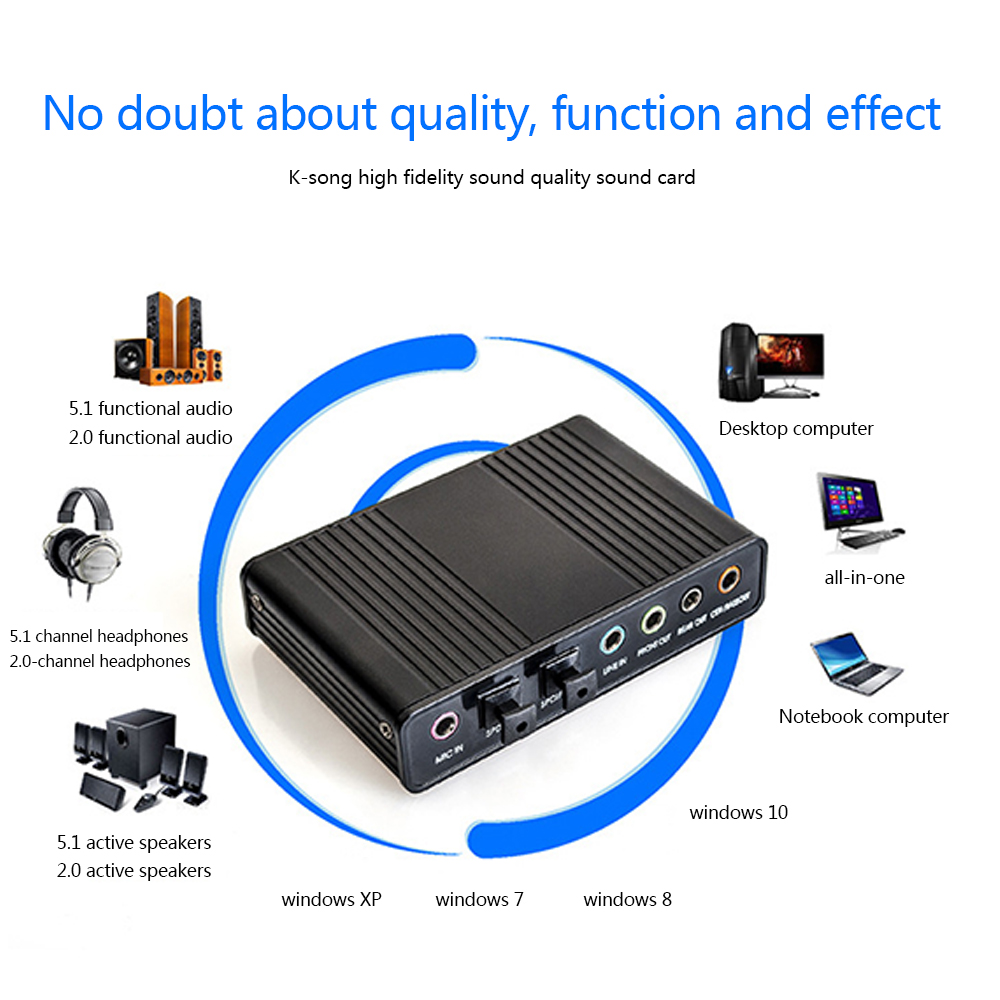 5.1 Audio Sound Card USB External Digital Optical SPDIF Audio Output Adapter for PC Audio Interface Sound Card Usb