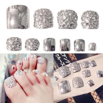 24 Pcs Summer Beauty Chic Toe Nails Metallic Silver For Foot Nail