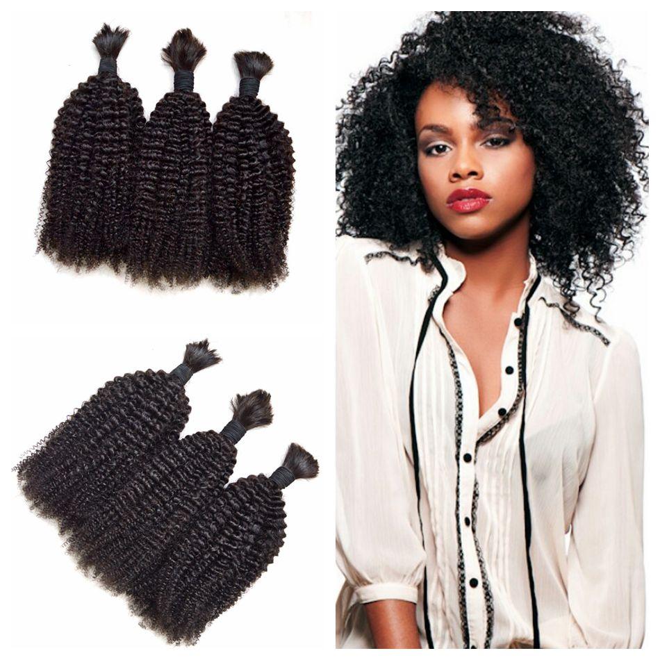 Indian Afro Kinky Curly Crochet Braids Micro Braiding Hair Virgin Unprocessed Curly Bulk ...