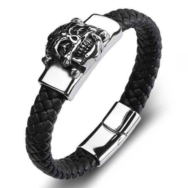 f6b88dd271ae Punk cráneo pulsera de cuero negro tejer Glamour cuerda cadena hombres  joyas pulseras de acero inoxidable