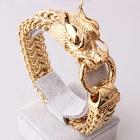 Vintage Golden 3D Dragon Head Figaro Link Chain 17mm Personality Design Stainless Steel Men's Boy's Casting Bracelets Jewelry