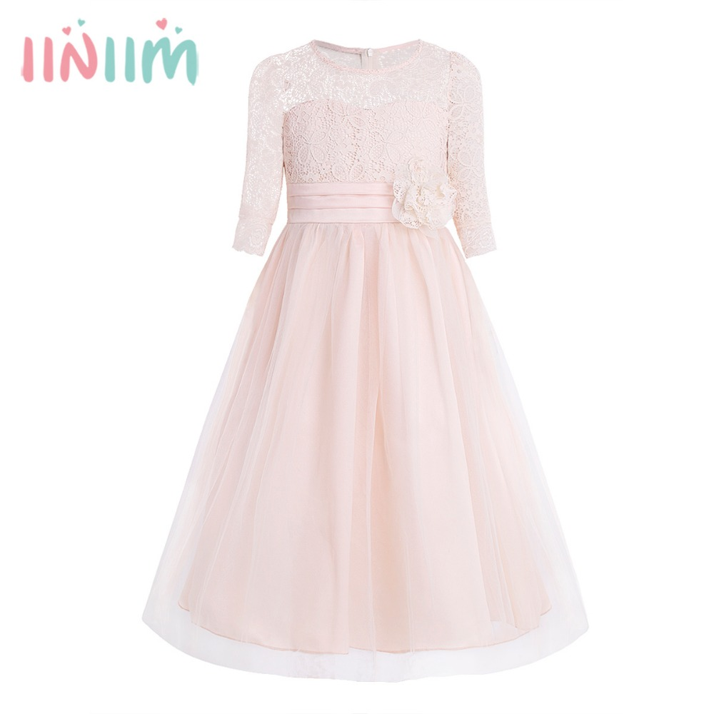 Vestido de festa Formal Girls Lace Half Sleeves Flower Girl Dress Princess Pageant Wedding Bridesmaid Birthday Party Dresses kids lace floral princess girl communion dress baby bridesmaid bow wedding party birthday girls dresses child vestudis de festa