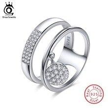 ORSA JEWELS 100% натуральная 925 пробы серебро Для женщин кольца AAA блестящие кубический циркон проложить Установка Женская Праздничная обувь Jewelry SR54
