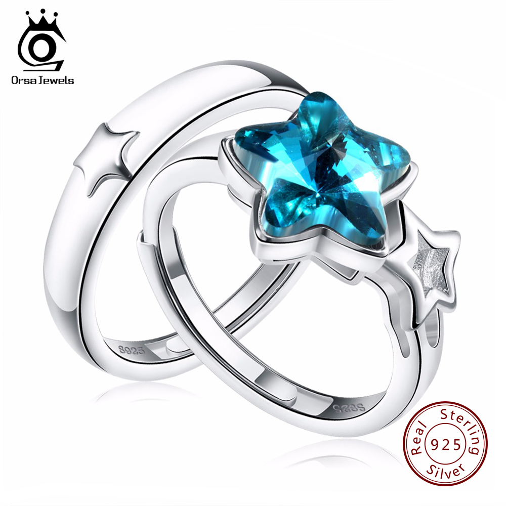 ORSA JEWELS Pure Silver 925 Rings Sets with 1.5ct Star Crystal Sterling Silver Promised Jewelry for Lover SR23