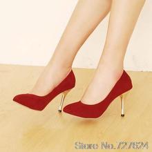 ปั๊มหนังใหม่46 45 44 43 42 40 41ของผู้หญิงรองเท้าส้นสูง8.5เซนติเมตรสีแดงส้นเท้าบางรองเท้าผู้หญิงกับรองเท้าส้นขนาดEUR 34-47