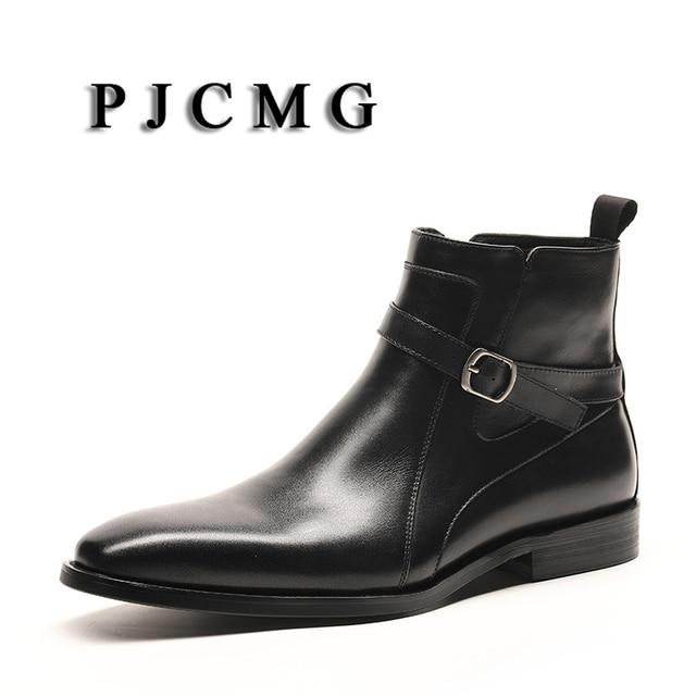 PJCMG Yeni Inek Derisi Hakiki Yumuşak Deri Sivri Burun Toka Askı Siyah/Kahverengi Bullock Desenler Oxford Elbise Ayakkabı Erkekler Için çizmeler