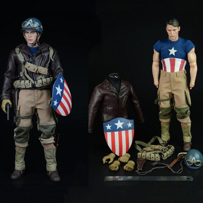 Custom World War II vision Captain America combat clothing set F 12 Inches male Body Male Action Figures