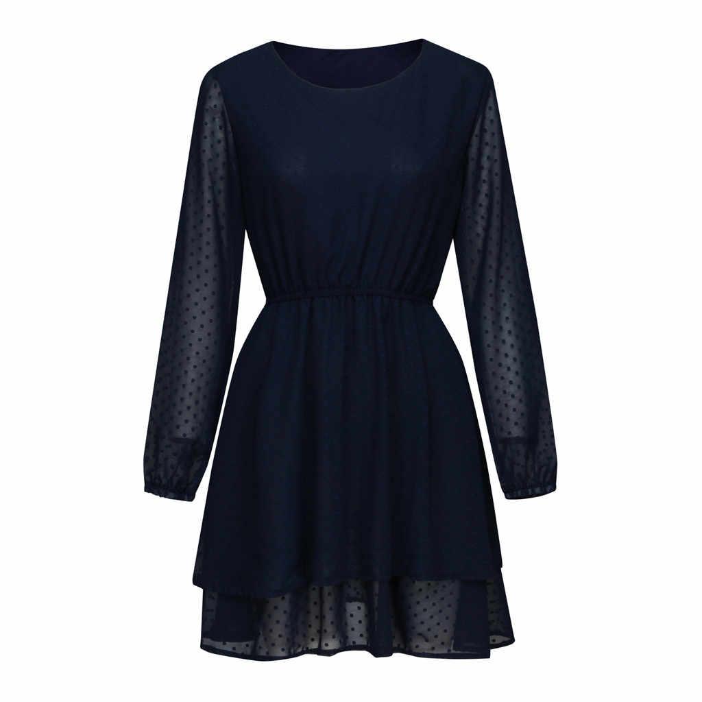 JAYCOSIN 2019 yeni yaz kadın elbiseler seksi o-boyun katı basamaklı tam fener kollu rahat Mini Sundress plaj 9042723
