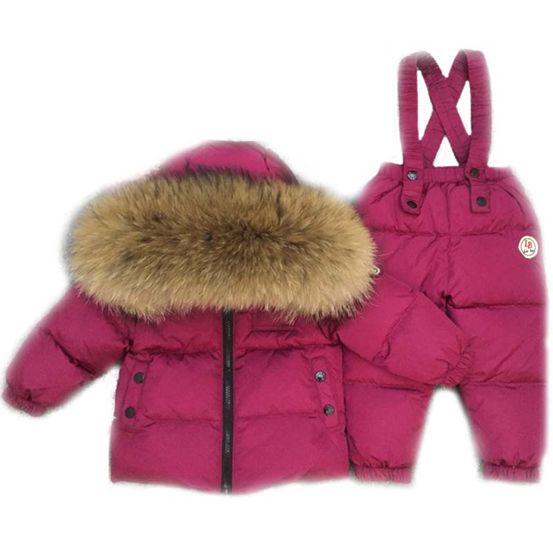Russia -40degree Polished/glossy baby snowsuit Children boys girls winter down jacket suit thick coat+jumpsuit kids clothes set children snowsuit winter clothing set down jacket down overalls pants baby girls outfits kids suit clothes for baby boys