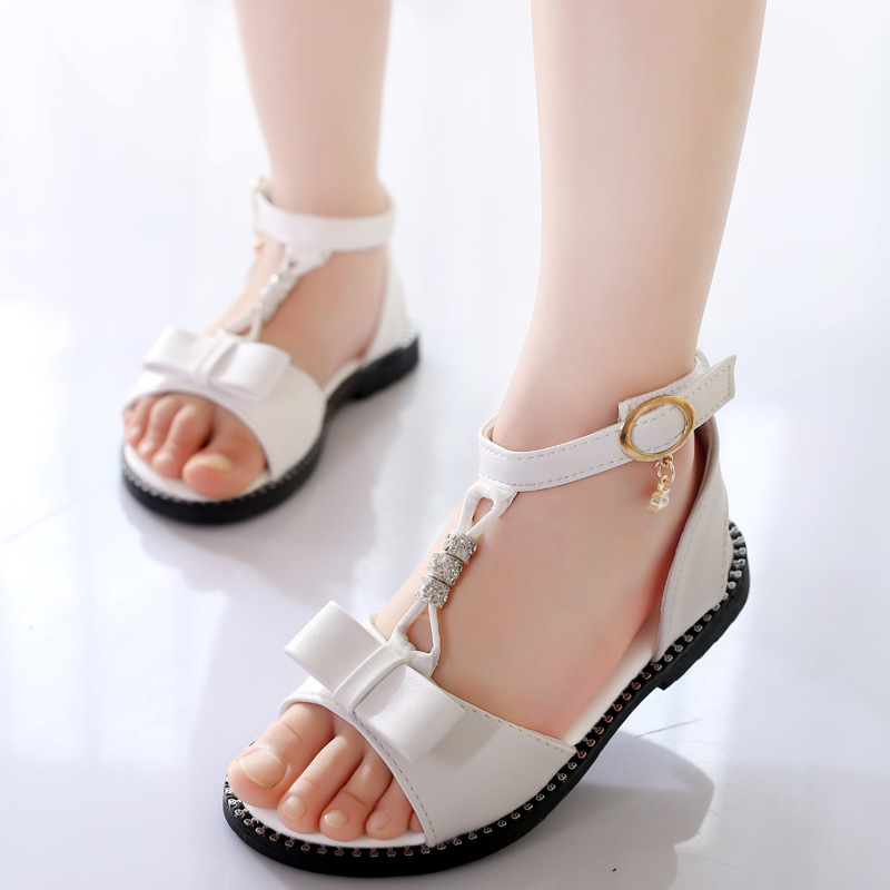 2019 Fashion Kids Summer Shoes Little Girls Sandals Big Children Princess Beading Bow Sandals 3 4 5 6 7 8 9 10 11 12 Year Old