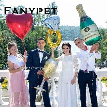 4/1 unid grande enlazado oro rosa rojo amor diamante anillo hoja globo Champagne balazos San Valentín fiesta decoración helio globos
