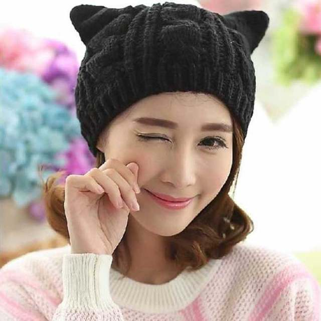 placeholder 2018 Women Devil Horns Cat Ears Beanie Woolen Hat Crochet Knit  Cap Winter Autumn Ladies Fashion 050e1426b90