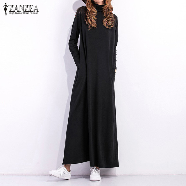 150558235b Sukienka jesienna 2019 kobiety czarna sukienka z długim rękawem z golfem z  długim Maxi sukienki damskie