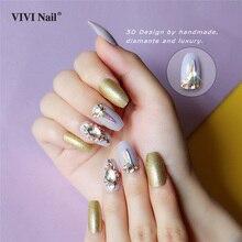 Crystal Coffin False Nails Press on Full Cover 3D Gold Powder Glitter Ballerina Fake Nail Tips Decoration ABS UV Nail Art