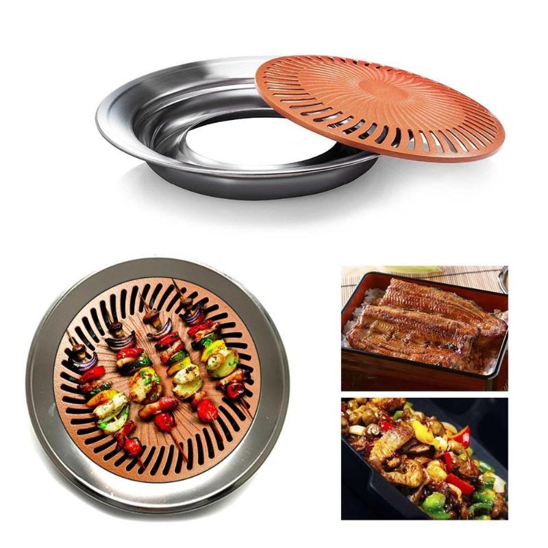 Multi-function Kitchen Frying Pan Non-stick Smokeless BBQ Pan Induction Cooking,Oven Safe Smokeless Grill Stove Frying Plate