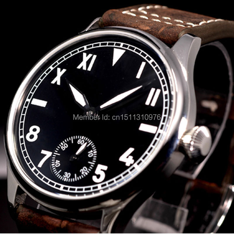 44mm parnis black dial Roman marks ST 6497 Mechanical manual wind mens watch P07 цена и фото