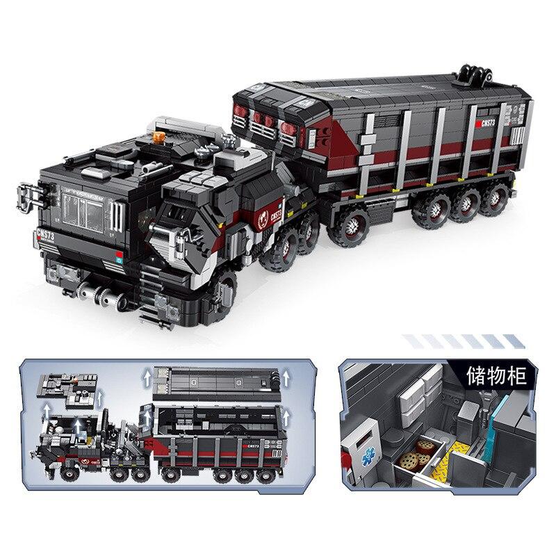 Oyuncaklar ve Hobi Ürünleri'ten Bloklar'de Yeni 2105 Adet Askeri serisi Siyah teknoloji Toprak Kamyon taşıyıcı kamyon Modeli Yapı Kitleri Blokları Tuğla Uyumlu Legoing Oyuncaklar'da  Grup 3