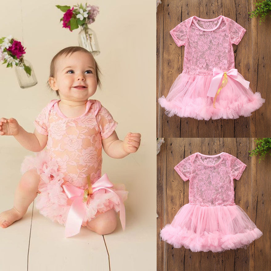 0657e55df745 Hot style Newborn Kids Baby Girl Outfits Clothes Lace Tulle Romper headband  Summer button sleeveless Jumpsuit
